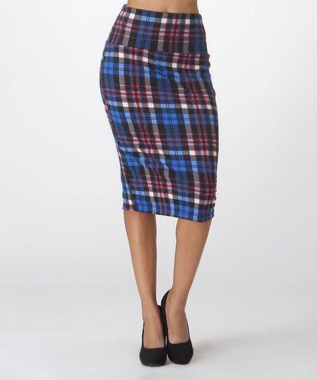 c183b9e8f8 BOLD & BEAUTIFUL Blue & Pink Plaid Pencil Skirt - Plus | Zulily