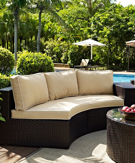 Crosley Sand Catalina Wicker Round Outdoor Sectional Sofa Zulily