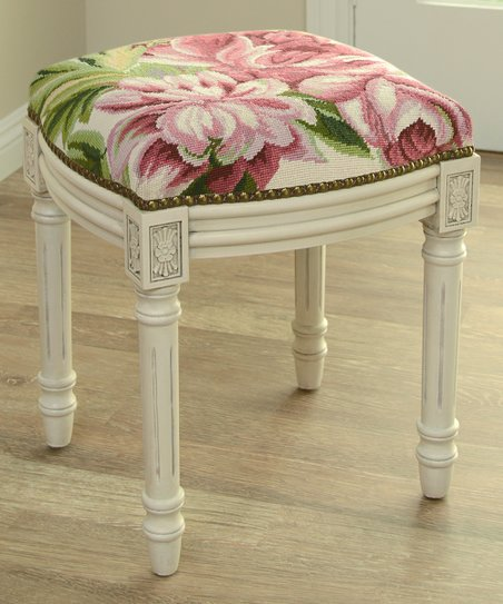 Cool 123 Creations Pink Magnolia Needlepoint Wool Vanity Stool Theyellowbook Wood Chair Design Ideas Theyellowbookinfo