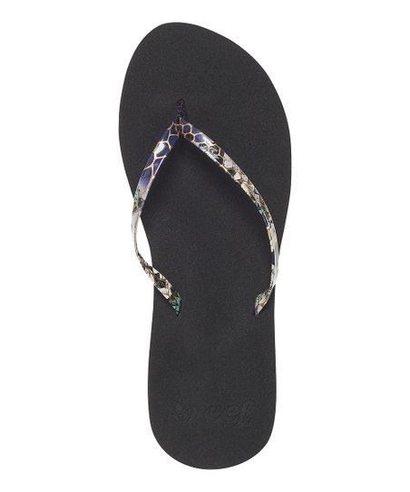b85da794beaa Reef Black Snakeskin Uptown Girl Flip-Flop