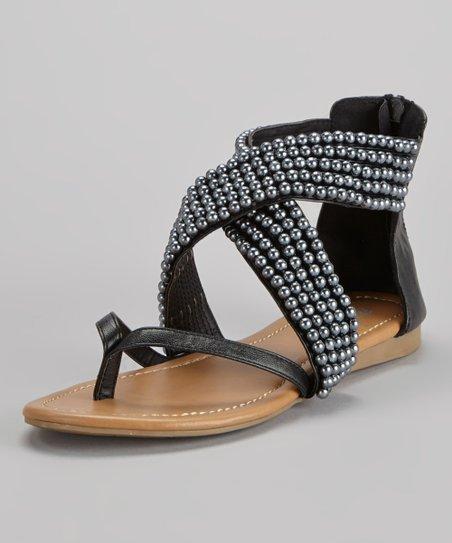 French Kiss Black Erica Embellished Gladiator Sandal