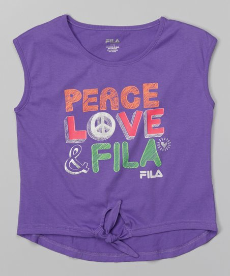 FILA Summer Purple 'Peace Love' Knot Tee - Girls