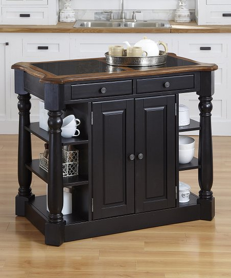 Home Styles Oak Black Americana Granite Kitchen Island