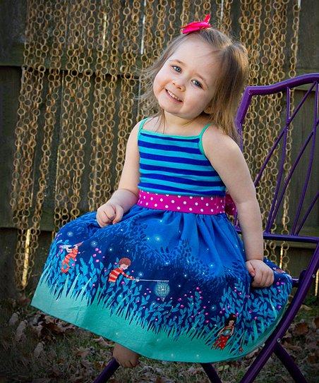 0b0ed7035ac6f Sew Snappy Boutique Blue Firefly Tank Dress - Toddler & Girls | Zulily
