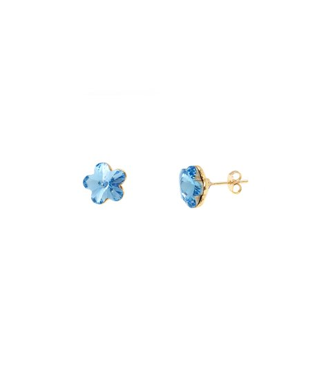 f8fc1b30f 18k Gold-Plated & Blue Daisy Stud Earrings With Swarovski® Crystals
