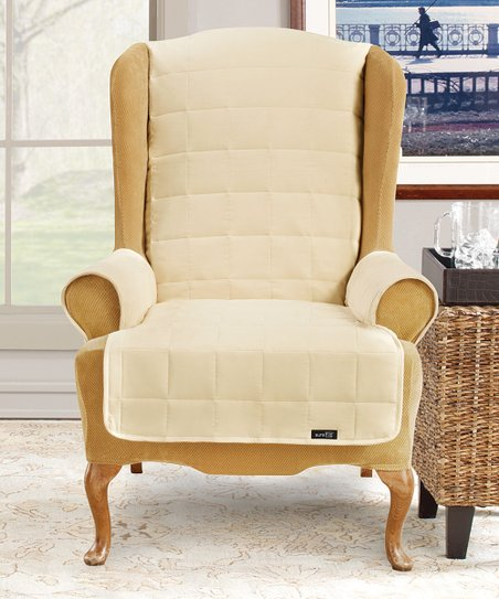 Fantastic Sure Fit Cream Waterproof Wing Chair Cover Gmtry Best Dining Table And Chair Ideas Images Gmtryco