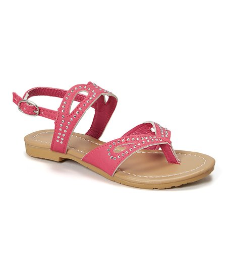 463fc52f5550 Amy Fuchsia Rhinestone Loop Sandal - Girls | Zulily