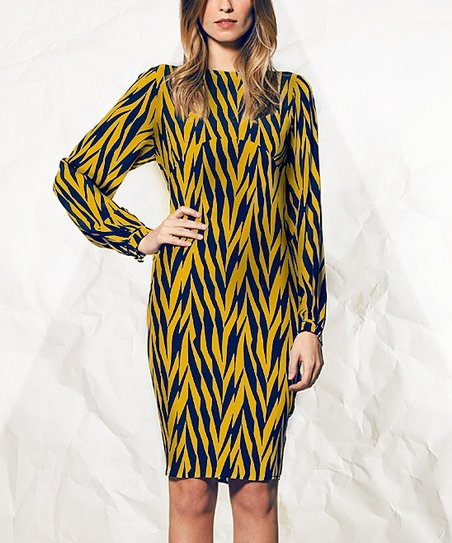 fd9d89730a5b Winter Kate Navy Abstract Herringbone Silk Dress | Zulily