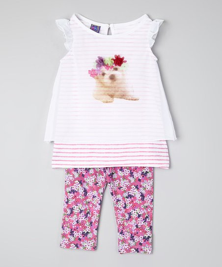 6eec4e3af0539 love this product White Dog Layered Top & Leggings - Infant, Toddler & Girls