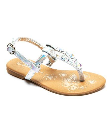 Spoiled Angel Kids Silver Iridescent Rhinestone T-Strap Sandal
