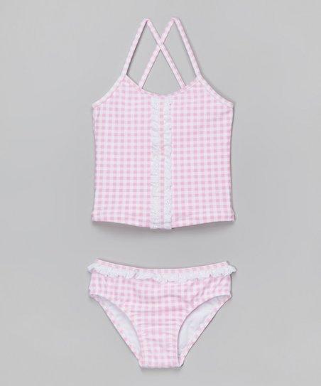 32db04694d2 Jessica Simpson Collection Pink Gingham Ruffle Seersucker Tankini - Girls