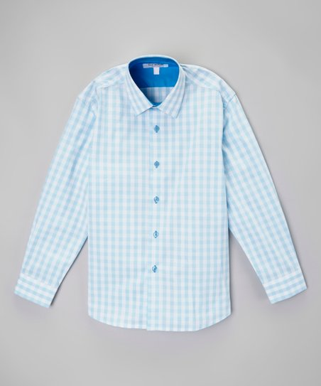 0ac0b358887ed1 love this product Aqua   White Gingham Button-Up - Toddler   Boys
