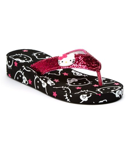 15cb873ce12fa3 Black   Hot Pink Hello Kitty Face Platform Flip-Flop - Kids