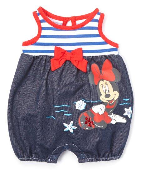 9cfa38993609 Childrens Apparel Network Blue   White Stripe Minnie Mouse Romper ...