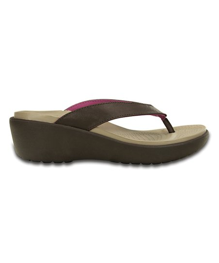 91d86efea38f love this product Mahogany Capri IV Flip-Flop Wedge - Women