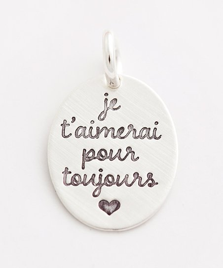 Five Little Birds 0 75'' Sterling Silver French 'I Will Always Love You'  Charm