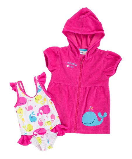 61995dfaaa863 love this product White Whale One-Piece & Fuchsia Cover-Up - Infant &  Toddler