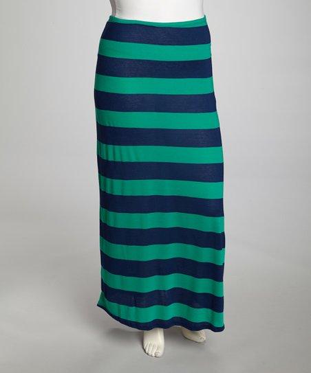 f649e91c2f6 Poliana Plus Green   Navy Stripe Maxi Skirt - Plus