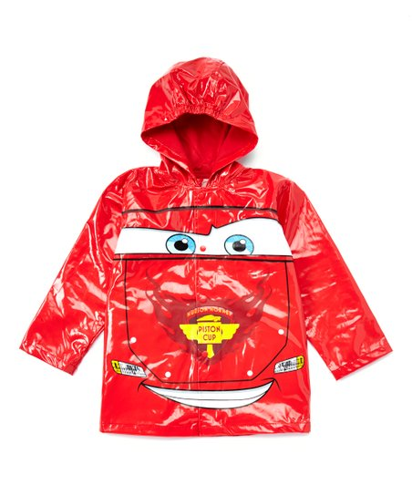 4//5 Disney Pixar Cars Lightning Mcqueen Boys Red Rain Slicker Size