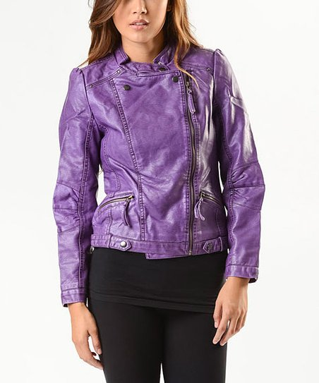 hot-selling limited guantity elegant and sturdy package PAPARAZZI Purple Faux Leather Moto Jacket - Women