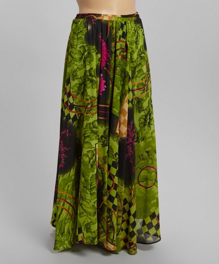320a3a8c35b love this product Green Floral Checkerboard Maxi Skirt - Plus