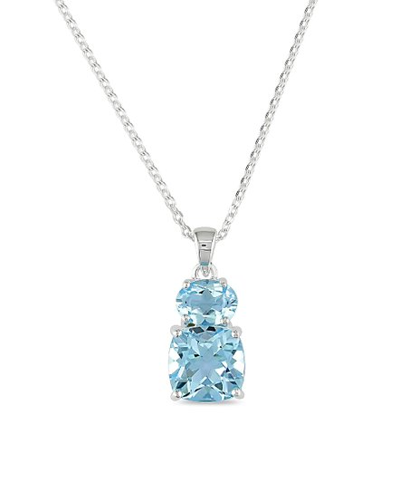 7f25aa5efbeb08 love this product Blue Topaz & Sterling Silver Double-Drop Pendant Necklace