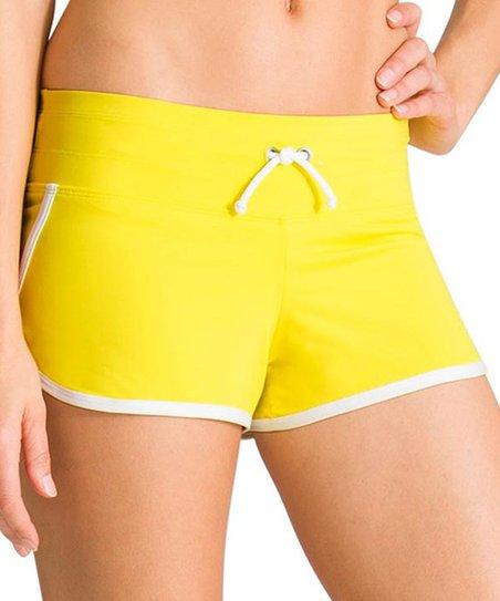 201cb77754 Athleta Aloha Yellow & White Kata Swim Shorts   Zulily