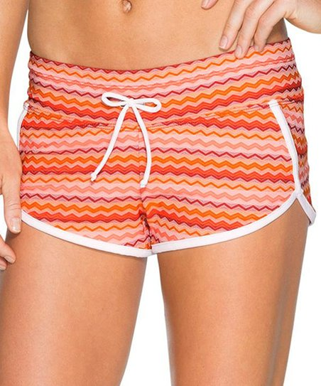 562425d26c Athleta Coral Sunset Ripple Kata Swim Shorts   Zulily