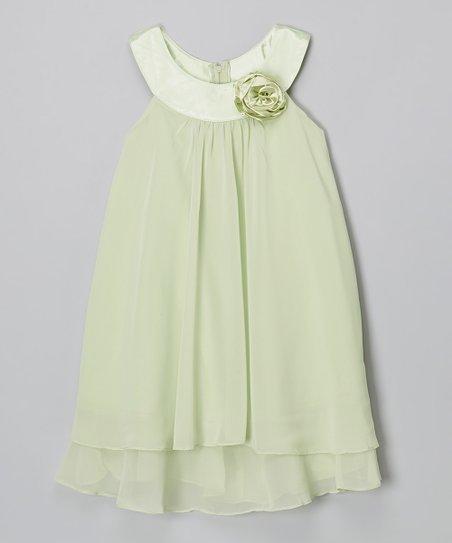 get new 100% genuine entire collection Kids Dream Sage Green Flower Yoke Dress - Toddler & Girls   Zulily