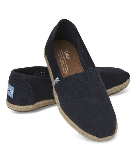 TOMS Navy Perforated Suede Classics