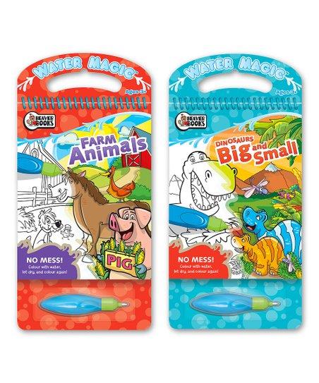 Beaver Books Farm Animals & Dinosaurs Water Magic Coloring Book Set ...