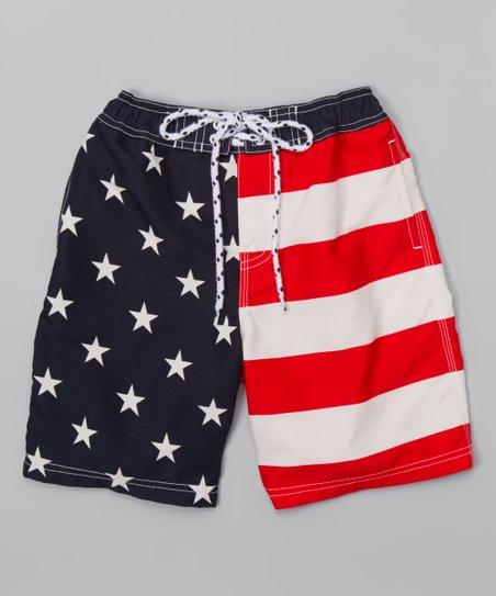 b536eca632 E-Land Kids Navy & Red American Flag Boardshorts - Boys | Zulily