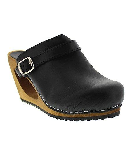 Sanita Black Wood \u0026 Leather Wedge Clog