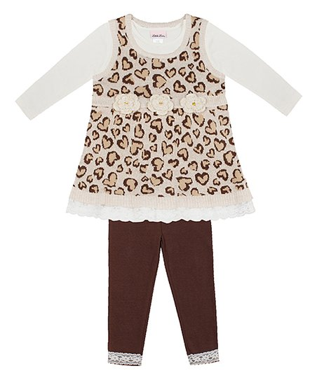 4e58e3b3b96 love this product Ivory Leopard Hearts Sweater Vest Set - Infant, Toddler &  Girls