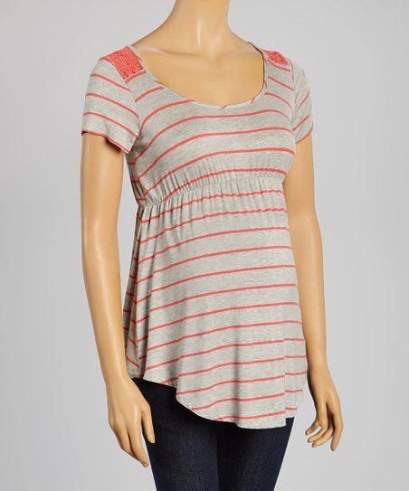 474563bc19215 Mom & Co Gray & Coral Stripe Lace-Back Maternity Babydoll Top | Zulily