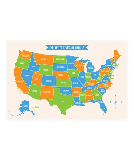 sarah + aham Orange & Blue United States Place Mat on blue nile state map, america red blue county map, blue 3d usa map,