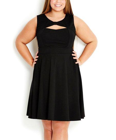 181ea366098 City Chic Black Bow Swing Dress - Plus