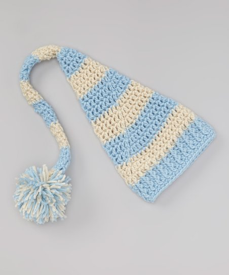 145d25484bcc1 Just For Baby With Love Off-White   Light Blue Stripe Pom-Pom Beanie ...