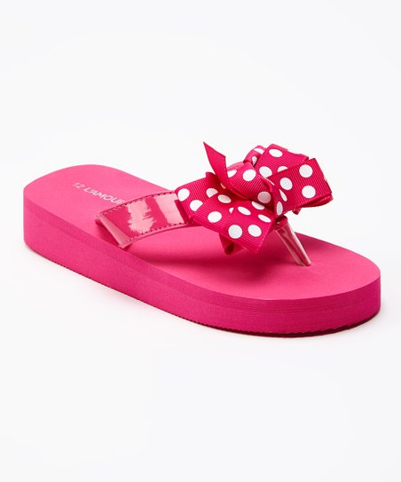 c9d31d464 love this product Fuchsia   White Polka Dot Bow Flip-Flop - Girls