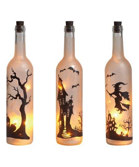 LED Halloween Wine Bottle Candle Set