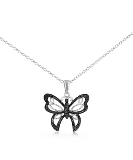 Sterling Silver Black Diamond Butterfly Pendant