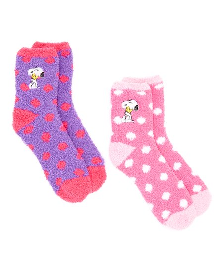 6e5298c889 love this product Purple Peanuts Snoopy Polka Dots Two-Pair Socks Set - Kids