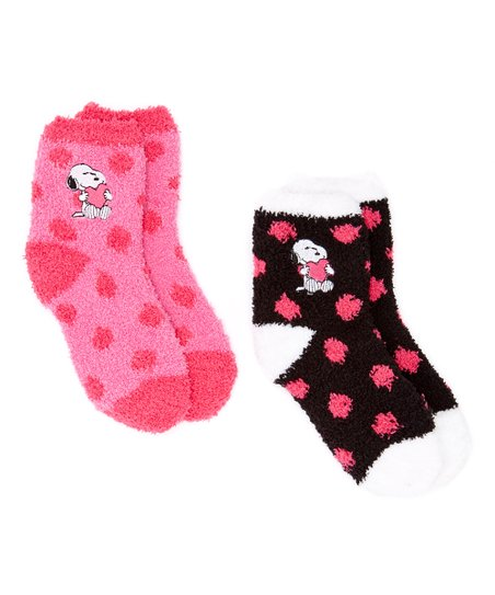 fe224fb783 love this product Pink   Black Peanuts Snoopy Polka Dot Two-Pair Socks Set  - Kids