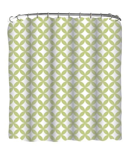 Bright Green Geometric Shower Curtain Set