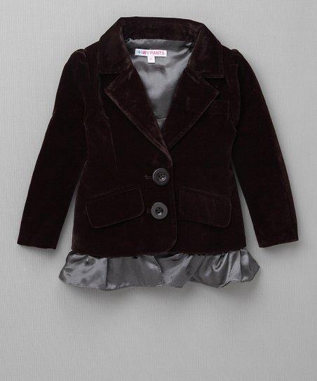 5e992f50d2e Tiny Pants Chocolate Velvet Ruffle Blazer - Toddler & Girls | Zulily
