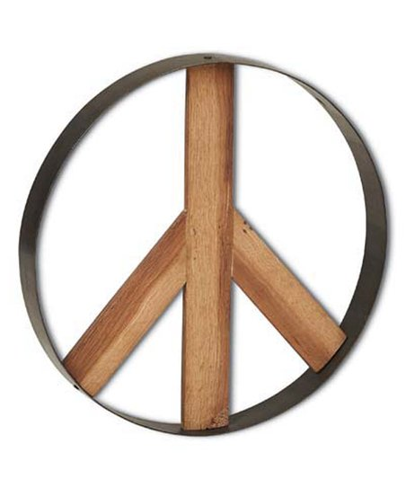 Foreside Large Wood Metal Peace Sign Wall Art