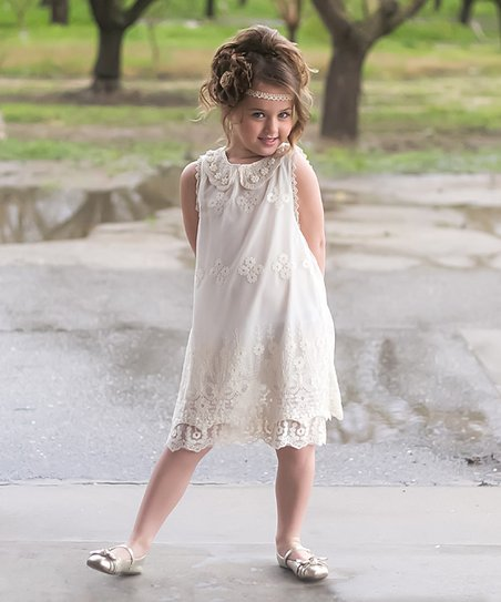 124e68992 love this product Ivory & Pink Pearl Lace Sheath Dress - Toddler & Girls
