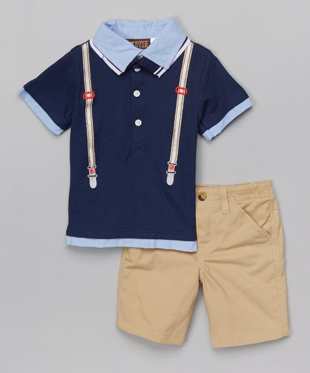 642df98c love this product Navy Suspender Polo & Tan Shorts - Infant, Toddler & Boys