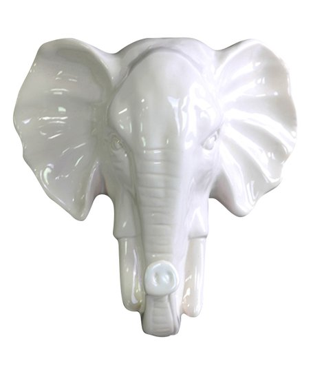 White Ceramic Elephant Head Wall Mount Zulily