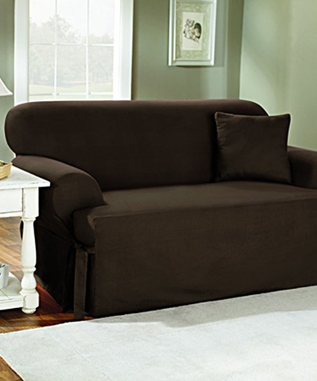 Sure Fit Warm Chocolate Canvas One Piece Sofa Slipcover Zulily
